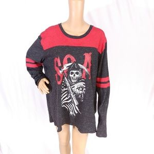 Sons Of Anarchy Skeleton Colorblock Shirt Top 2XL